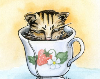 Strawberry Teacup - 6x6 Original Framed Watercolor of kitten in a cup