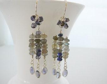 Gemstone Long Earrings, Labradorite Iolite Sterling Silver, statement, wedding bridal