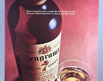 1966 Seagram's 7 Crown Whiskey Double Page Print Ad - Seagram's Seven Crown - Vintage Alcohol Ad