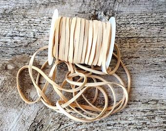 "Beige Flat Leather Cord 1/8"" Buckskin Deerskin Lace BY THE YARD, 3 Feet x 3mm, Bead, Off White, Buckskin, Deer Skin Cord, Craft Supplies"