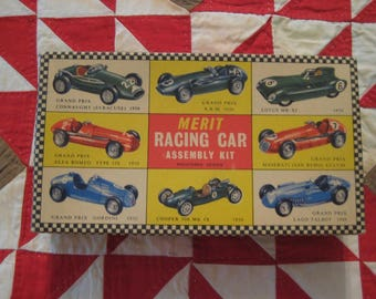 Vintage Merit 1954 Model Racing Car Kit for French Simca/ Italian G.R. Farrari Car Bodies