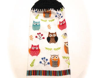 Owls Hand Towel With Black Crocheted Top