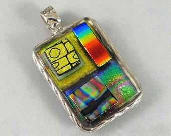 """Dichroic glass pendant set in fine silver with three little stacks of dichroic glass on top, handmade, OOAK, 1 5/8"""" X 1"""""""