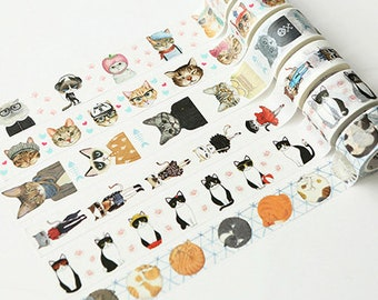 Cat Washi Tape, Animal Washi Tape, Cute Washi Tape, Fashion Cat Washi Tape, Masking Tape