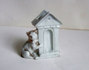 Tiny China Dog and Kennel - Vintage Toothpick or Match Holder - Antique Ceramic Ornament