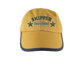 Personalized Nautical Skipper Stars Embroidery on a Polo Style 5 Panel Adjustable Mango and Navy Unstructured Cap for the Boating Enthusiast