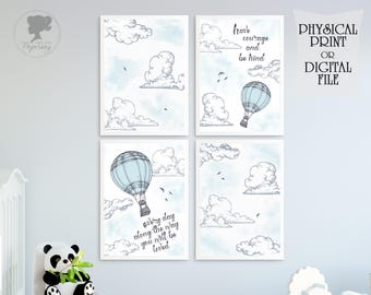 Hot air balloon Nursery prints, Have courage, You will be loved, Boy nursery, Blue print, Blue and grey decor, Clouds print, Sky, Be kind