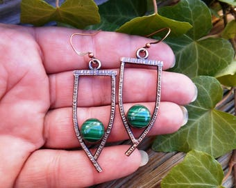 Handmade Copper Earrings with Green Malachite Stones, Dangle Earrings, Drop Earrings, Handforged and Soldered Metal Work Jewelry, Patina