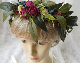 Leafy green flower crown,olive leaves and rosebuds hair wreath,leaves and berries crown,burgundy and green hair piece,greenery wedding