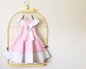 Vintage Pink And White Princess Cut Dress (Size 4T)