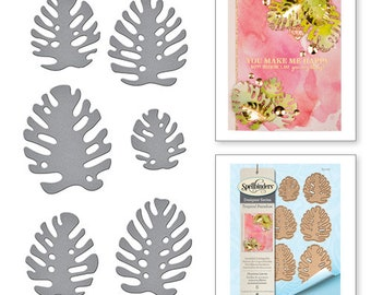 Spellbinders Shapeabilities Monstera Leaves Etched Dies Tropical Paradise by Lene Lok S4-727