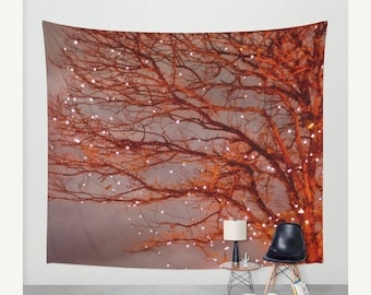 high quality Wall Tapestry. Home Decor. Large Wall Art tapestry Wall Decor woodland decor, red decor, red tapestry, forest nature wall art