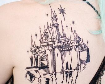 Enchanted Castle Linework Tattoo