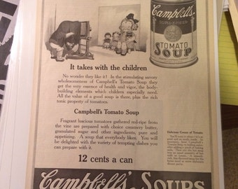 1921 Campbell's Soup ad photography children