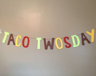 Taco Twosday Birthday Banner-Free Shipping (fiesta, taco tuesday, cinco de mayo, second birthday, fiesta party, taco bout a party)
