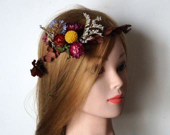 Sweet sixteen Flower Crown Dried Floral crown wedding wreath Bridal Crown Rustic crown Floral Head Wreath Hair Accessories PROM school