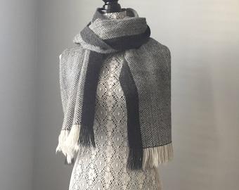 Dark and Stormy herringbone scarf, wool and alpaca, handwoven