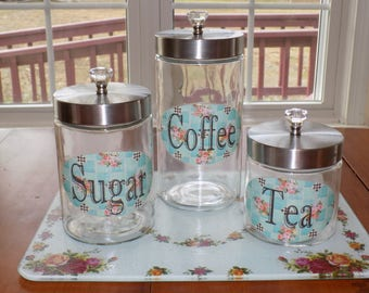 Glass Canister Set NEW Shabby Chic Cottage blue coffee tea sugar Stainless steel