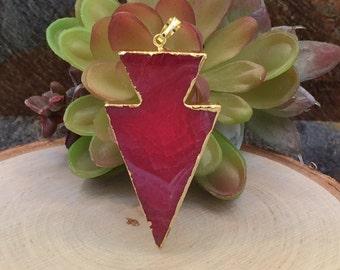 Pink Agate Arrowhead Pendant, Hot Pink Arrow Agate, Arrowhead, Gold Plated, Agate Slice, Natural Stone Pendant, PG03107