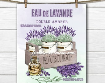 Vintage French Lavender Printable, Lavender Flowers Provence Large Image Instant Download  Transfer Fabric digital collage sheet printable