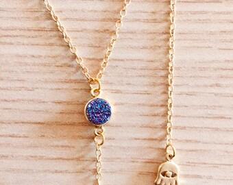 Hamsa Druzy Lariat Statement Necklace in GOLD (Нand of Fatima)