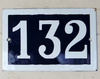 French Vintage Blue And White Enamel House Number Sign/French Vintage Number 132 House Plaque/132 House Number Plaque/132 House Number