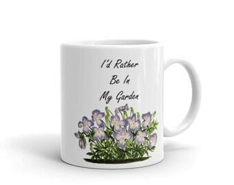 I'd Rather Be In My Garden Mug, Gardener Gift, Plant Lover Gift, Flower Mug, Plant Mug