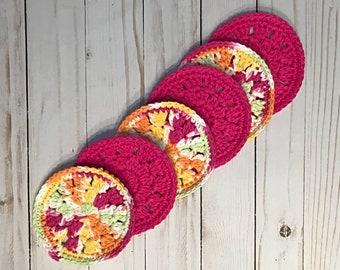 Cotton Coaster Set, Crochet Coaster Set of 3, Round Coasters