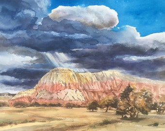 Storm Approaching Ghost  Ranch Original Watercolor Landscape, Big Sky, Western Art, Violet Gold Red, Santa Fe New Mexico Painting, Storm art