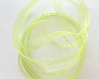 X8.50 meters lime green color REF 6 mm wide organza Ribbon.  4074