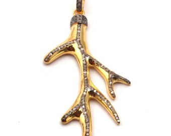 Horn Shape Pendant Pave Diamond Pendant Diamond Pendant 925 Sterling Silver