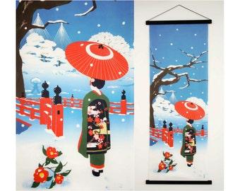 Geisha fabric, Japanese Tenugui cotton fabric, girl kimono fabric, kawaii fabric, wall decoration, quilt fabric, japanese curtain fabric