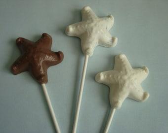 12 Chocolate Starfish Lollipops Beach Nautical Luau Wedding Birthday Party Favors Candy Sea Shells