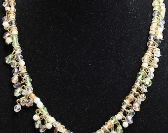 Vintage Necklace with Pastel Bicones and Pearls