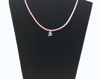 Suede with OM charm necklace