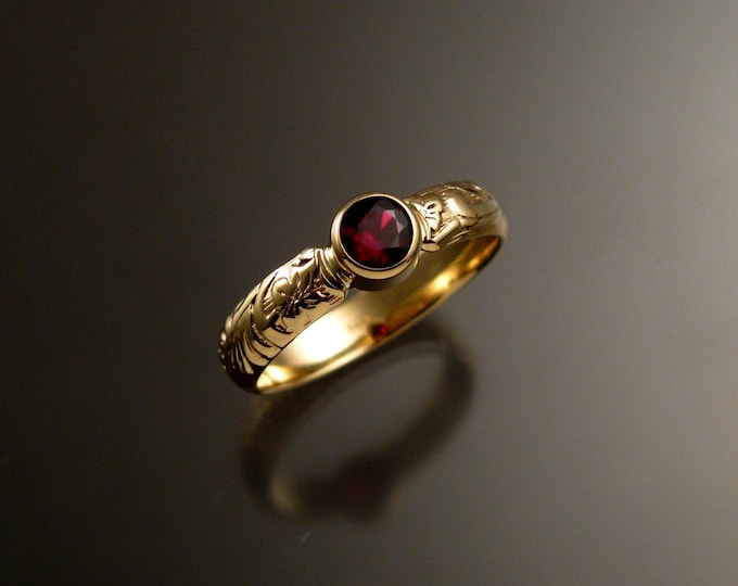 Garnet Wedding ring 14k yellow Gold Victorian bezel set Ruby substitute ring made to order in your size