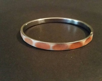 Vintage Pink Enamel Silver Bracelet Bangle Costume Jewelry