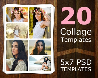 Photoshop Collage Templates - Photo Collage Templates - Storyboard Templates - PSD Templates - Photography Photo Templates Postcard CT001