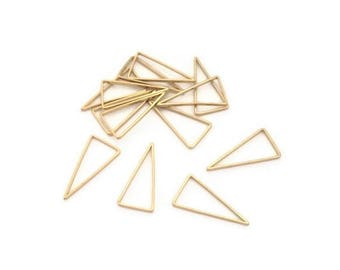 20 connectors triangle raw brass, 17mm, round spacer ring