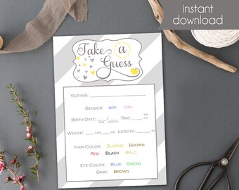 Gender Neutral Baby Shower Game - Gender Reveal Baby Shower Game - Baby Guesses - Baby Shower Printable