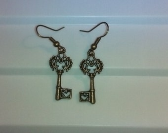 Vintage Key Earrings Available in Bronze or Silver