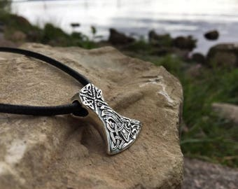 Solid Silver Sterling 925 AXE Viking Pendant DOUBLE SIDED replica Ethnic