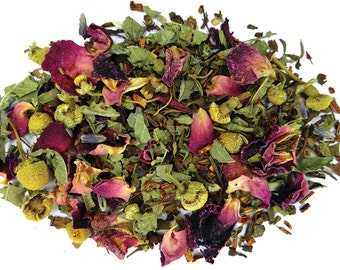 Sun Dried Blend Herbal Tea - Culinary Herb - Organically Grown, Hand Harvested - Organic Tea,   Herbal Tea Mix, No caffeine tea, Flower Tea