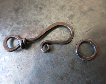 Hammered Copper Clasp, Handmade Hook Clasp, Choice of Patina Finishes
