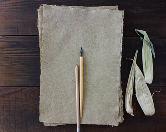Deckle edge paper - Handmade paper - Textured paper - Eco friendly paper - A4 paper - Single sheet  (#30)