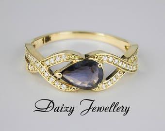 Sapphire And Diamonds 14k Gold Ring. Purple gemstone. Sapphire jewelry.