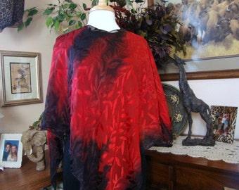 Hand Dyed Red Black Leaf Silk Poncho