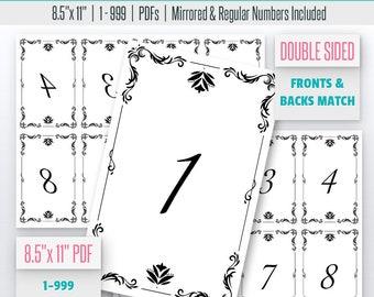 Vintage Ornament Live Number Cards(1-999) Normal + Mirrored Numbers Included | Live Sale Numbers, Number Tags, Facebook live numbers