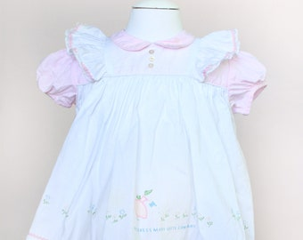Vintage Baby Dress / Vintage White Nannette Mistress Mary Quite Contrary Dress / Size 12 Months