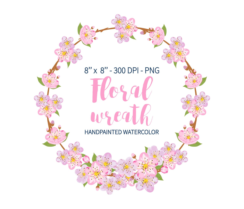 Spring Clipart Sakura Wreath Flower